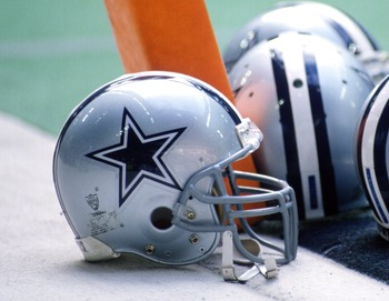 23 Nov 1995:  A number of Dallas Cowboys helmets sit on the goal line during the Cowboys 24-12 win over the Kansas City Chiefs at Texas Stadium in Irving, Texas. Mandatory Credit: Brian Bahr/ALLSPORT