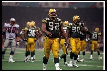 26 Jan 1997:  Defensive lineman Reggie White of the Green Bay Packers looks on during Super Bowl XXXI against the New England Patriots at the Superdome in New Orleans, Louisiana.  The Packers won the game, 35-21. Mandatory Credit: Al Bello  /Allsport