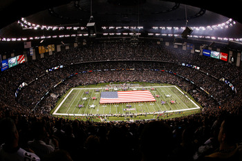 NEW ORLEANS - JANUARY 16:  A general view of the performance of the National Anthem prior to the New Orleans Saints hosting the Arizona Cardinals during the NFC Divisional Playoff Game at Louisana Superdome on January 16, 2010 in New Orleans, Louisiana.