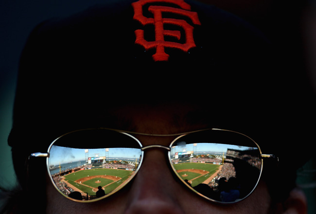 SAN FRANCISCO - JULY 28:  AT&T Park is reflected in the sunglasses of a fan during the San Francisco Giants game against the Florida Marlins on July 28, 2010 in San Francisco, California.  (Photo by Ezra Shaw/Getty Images)