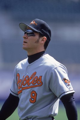 26 Apr 2001:  Brady Anderson #9 of the Baltimore Orioles walks on the field during the game against the Detroit Tigers at Comerica Park in Detroit, Michigan. The Tigers defeated the Orioles 8-2.Mandatory Credit: Tom Pigeon  /Allsport