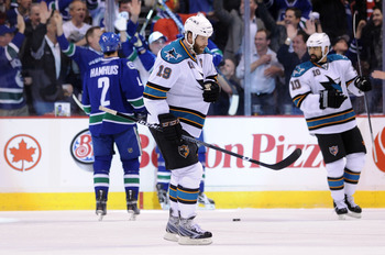 VANCOUVER, CANADA - MAY 24:  Joe Thornton #19 and Jamal Mayers #10 of the San Jose Sharks skate back to the bench after a goal by Alex Burrows #14 of the Vancouver Canucks in the first period in Game Five of the Western Conference Finals during the 2011 S