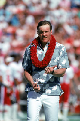 HONOLULU, HI - FEBRUARY 4:  Class of 1990 Hall of Fame inductee, Jack Lambert, attends the 1990 NFL Pro Bowl at Aloha Stadium on February 4, 1990 in Honolulu, Hawaii.  The NFC won 27-21.  linebacker Jack Lambert played for the Pittsburgh Steelers from 197