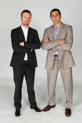 LAS VEGAS, NV - JUNE 22:  Daniel Sedin and Roberto Luongo of the Vancouver Canucks pose for a portrait during the 2011 NHL Awards at the Palms Casino Resort June 22, 2011 in Las Vegas, Nevada.  (Photo by Jeff Gross/Getty Images)