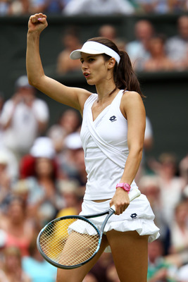 LONDON, ENGLAND - JUNE 27:  Tsvetana Pironkova of Bulgaria celebrates match point after winning her fourth round match against Venus Williams of the United States on Day Seven of the Wimbledon Lawn Tennis Championships at the All England Lawn Tennis and C