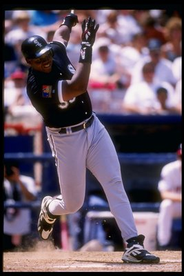 7 Aug 1994: First baseman Frank Thomas of the Chicago White Sox swings at the ball during a game against the California Angels at Anaheim Stadium in Anaheim, California.