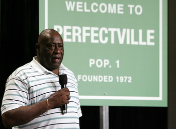 PHOENIX - FEBRUARY 01:  Former Miami Dolphin Larry Little speaks during a press conference anouncing Reebok's new television campaign -dubbed 'Perfectville'- featuring members of the only undeated team in NFL history- the 1972 Miami Dolphins on February 1