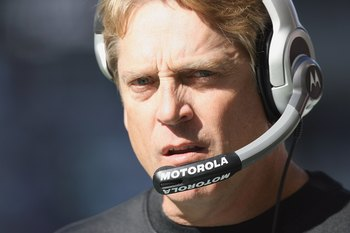 SEATTLE - OCTOBER 11: Head coach  Jack Del Rio of the Jacksonville Jaguars watches the action during the game against the Seattle Seahawks on October 11, 2009 at Qwest Field in Seattle, Washington. The Seahawks defeated the Jaguars 41-0. (Photo by Otto Gr