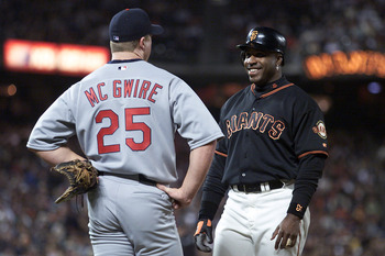 29 Jun 2001: Barry Bonds of the San Francisco Giants talks with Mark McGwire of the St. Louis Cardinals at Pac Bell Park in San Francisco, California.  <DIGITAL IMAGE> Mandatory Credit: Jed Jacobsohn/ALLSPORT