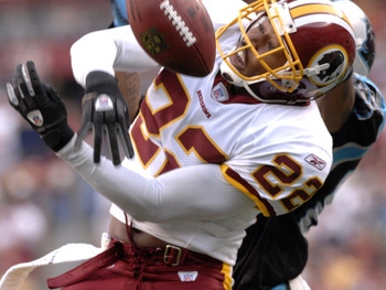 Washington Redskins cornerback Carlos Rogers breaks up an end zone pass  against the Carolina Panthers  Nov. 26, 2006 at FedEx Field in Washington. The Skins won 17 - 13.  (Photo by Al Messerschmidt/Getty Images)