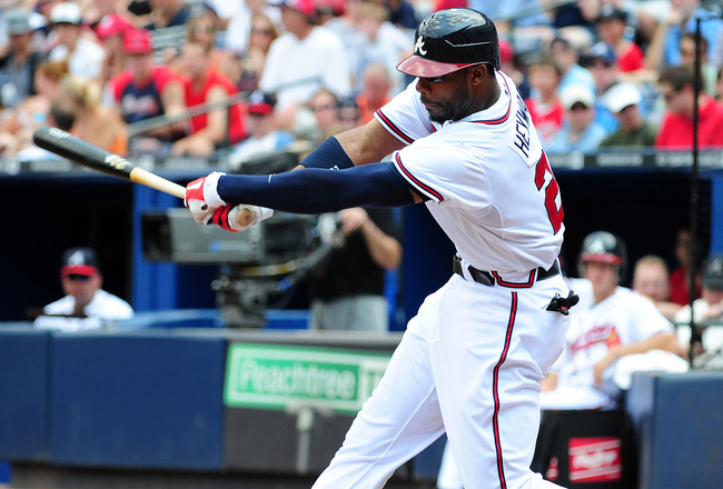 ATLANTA - JULY 7: Jason Heyward #22 of the Atlanta Braves hits against the Colorado Rockies at Turner Field on July 7, 2011 in Atlanta, Georgia. (Photo by Scott Cunningham/Getty Images)