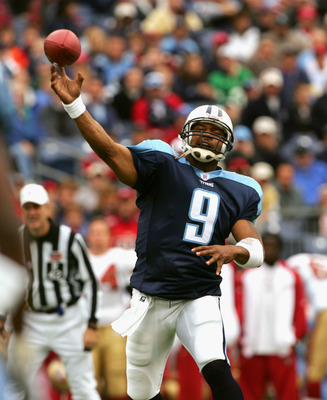 NASHVILLE, TN - NOVEMBER 27:  Quarterback Steve McNair #9 of the Tennessee Titans passes the ball against the San Francisco 49ers during week 12 of the 2005-2006 NFL season at the Coliseum in Nashville, Tennessee on November 27, 2005.  The Titans won 33-2