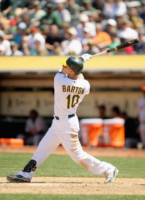 OAKLAND, CA - MAY 29:  Daric Barton #10 of the Oakland Athletics in action against the Baltimore Orioles at Oakland-Alameda County Coliseum on May 29, 2011 in Oakland, California.  (Photo by Ezra Shaw/Getty Images)