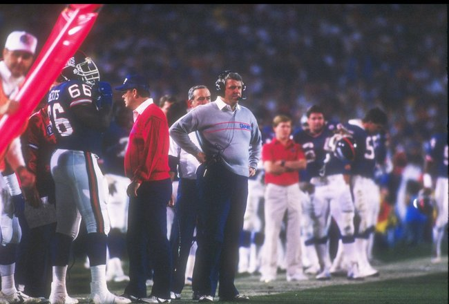 25 Jan 1987:  Head coach Bill Parcells of the New York Giants watches intently from the side during Super Bowl  XXI with the Denver Broncos at the Rose Bowl in Pasadena, California.  The Giants won the game, 39-20   Mandatory Credit: Rick Stewart  /Allspo