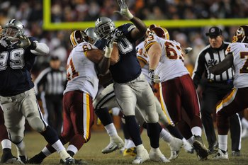 LANDOVER, MD - DECEMBER 27:  Jay Ratliff #90 of the Dallas Cowboys defends against the Washington Redskins at FedExField on December 27, 2009 in Landover, Maryland. The Cowboys defeated the Redskins 17-0. (Photo by Larry French/Getty Images)