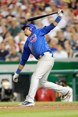 WASHINGTON, DC - JULY 05:  Aramis Ramirez #16 of the Chicago Cubs hits a home run in the sixth inning against the Washington Nationals at Nationals Park on July 5, 2011 in Washington, DC.  (Photo by Greg Fiume/Getty Images)