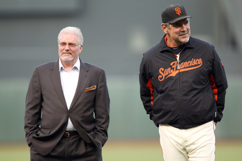 GM Brian Sabean and Manager Bruce Bochy