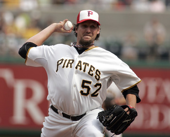 PITTSBURGH, PA - JULY 04:  Joel Hanrahan #52 of the Pittsburgh Pirates pitches his 25th save against the Houston Astros during the game on July 4, 2011 at PNC Park in Pittsburgh, Pennsylvania.  The Pirates defeated the Astros 5-2.  (Photo by Justin K. All