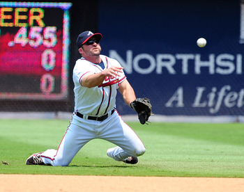 ATLANTA - JULY 7: Dan Uggla #26 of the Atlanta Braves makes a throw against the Colorado Rockies at Turner Field on July 7, 2011 in Atlanta, Georgia. (Photo by Scott Cunningham/Getty Images)