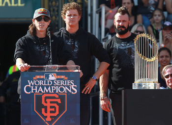 Lincecum, Cain and Wilson with the World Series Trophy