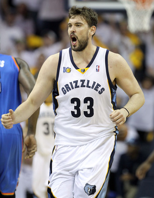 MEMPHIS, TN - MAY 07:  Marc Gasol #33 of the  Memphis Grizzlies celebrates during the game against the Oklahoma City Thunder in Game Three of the Western Conference Semifinals in the 2011 NBA Playoffs at FedExForum on May 7, 2011 in Memphis, Tennessee.The