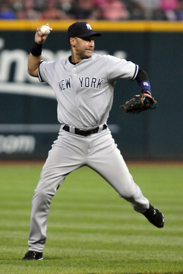 CLEVELAND, OH - JULY 5: Derek Jeter #2 of the New York Yankees throws out Orlando Cabrera #20 (not shown) of the Cleveland Indians to end the sixth inning at Progressive Field on July 5, 2011 in Cleveland, Ohio. (Photo by Jason Miller/Getty Images)