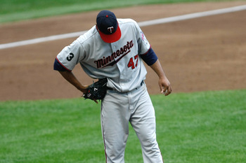 MILWAUKEE, WI - JUNE 25: Francisco Liriano #47 of the Minnesota Twins reacts after giving up a home run against the Milwaukee Brewers at the Miller Park on June 25, 2011 in Milwaukee, Wisconsin. (Photo by Scott Boehm/Getty Images)
