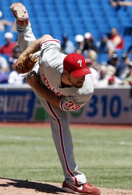 TORONTO, CANADA - JULY 3: Cliff Lee #33 of the Philadelphia Phillies throws a pitch during MLB action against the Toronto Blue Jays at The Rogers Centre July 3, 2011 in Toronto, Ontario, Canada. (Photo by Abelimages/Getty Images)