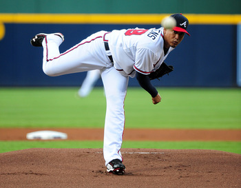 ATLANTA - JULY 6: Jair Jurrjens #49 of the Atlanta Braves pitches against the Colorado Rockies at Turner Field on July 6, 2011 in Atlanta, Georgia. (Photo by Scott Cunningham/Getty Images)