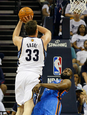 MEMPHIS, TN - MAY 13:  Marc Gasol #33 of the Memphis Grizzlies against James Harden #13 of the Oklahoma City Thunder in Game Six of the Western Conference Semifinals in the 2011 NBA Playoffs at FedExForum on May 13, 2011 in Memphis, Tennessee.  NOTE TO US