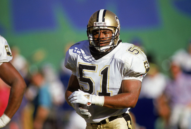 ANAHEIM, CA - DECEMBER 9:  Linebacker Sam Mills #51 of the New Orleans Saints stands on the field during an NFL game on December 9, 1990 against the Los Angeles Rams at Anaheim Stadium in Anaheim, California. The Saints defeated the Rams 24-21. (Photo by
