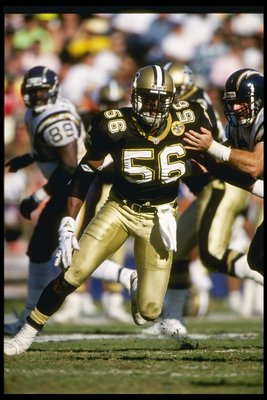 17 Nov 1991: Linebacker Pat Swilling of the New Orleans Saints moves down the field during a game against the San Diego Chargers at Jack Murphy Stadium in San Diego, California. The Chargers won the game, 24-21.