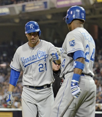 SAN DIEGO, CA - JUNE 28:  Jeff Francoeur #21 of the Kansas City Royals, left, is congratulated by teammate Wilson Betemit #24 after Francoeur hit a solo home run during the seventh inning of a baseball game against the San Diego Padres at Petco Park on Ju