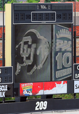 BOULDER, CO - JUNE 11: A stadium sign is visible in Folsom Stadium sporting the University of Colorado and PAC-10's logos on June 11, 2010 in Boulder, Colorado. The University of Colorado Board of Regents voted unanimously to accept an invitation to join