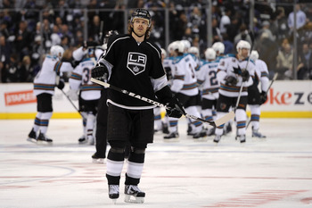 LOS ANGELES, CA - APRIL 19:  Michal Handzus #26 of the Los Angeles Kings skates off the ice after losing to the San Jose Sharks 6-5 in overtime of game three of the Western Conference Quarterfinals during the 2011 NHL Stanley Cup Playoffs at Staples Cente