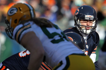 CHICAGO, IL - JANUARY 23:  Quarterback Jay Cutler #6 of the Chicago Bears looks on from under center while taking on the Green Bay Packers in the NFC Championship Game at Soldier Field on January 23, 2011 in Chicago, Illinois.  (Photo by Jamie Squire/Gett