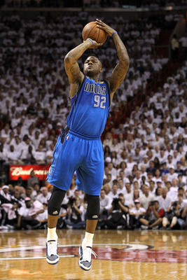 MIAMI, FL - JUNE 12:  DeShawn Stevenson #92 of the Dallas Mavericks attempts a shot against the Miami Heat in Game Six of the 2011 NBA Finals at American Airlines Arena on June 12, 2011 in Miami, Florida. The Mavericks won 105-95. NOTE TO USER: User expre