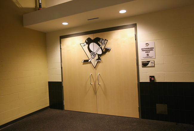 PITTSBURGH - OCTOBER 07:  The Pittsburgh Penguins locek room door at the Consol Energy Center as photographed prior to the opening game against the Philadelphia Flyers on October 7, 2010 in Pittsburgh, Pennsylvania. (Photo by Bruce Bennett/Getty Images)