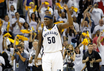 MEMPHIS, TN - MAY 13:  Zach Randolph #50 of the Memphis Grizzlies reacts in the final seconds of their 95-83 win over the Oklahoma City Thunder in Game Six of the Western Conference Semifinals in the 2011 NBA Playoffs at FedExForum on May 13, 2011 in Memp