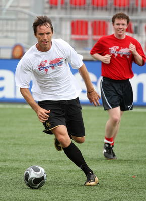 TORONTO - JULY 24:  NBA basketball player Steve Nash plays soccer with members of the media during the MLS All Star Media Game at BMO Field on July 24, 2008 in Toronto, Canada.  (Photo by Claus Andersen/Getty Images)