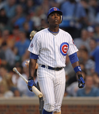 CHICAGO, IL - JUNE 29: Alfonso Soriano #13 of the Chicago Cubs walks back to the dugout after striking out against the San Francisco Giants at Wrigley Field on June 29, 2011 in Chicago, Illinois. (Photo by Jonathan Daniel/Getty Images)