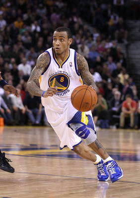 OAKLAND, CA - JANUARY 19:  Monta Ellis #8 of the Golden State Warriors in action against the Indiana Pacers at Oracle Arena on January 19, 2011 in Oakland, California.  NOTE TO USER: User expressly acknowledges and agrees that, by downloading and or using