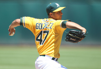OAKLAND, CA - JULY 03:  Gio Gonzalez #47 of the Oakland Athletics pitches against the Arizona Diamondbacks at Oakland-Alameda County Coliseum on July 3, 2011 in Oakland, California.  (Photo by Jed Jacobsohn/Getty Images)