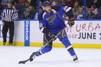 ST. LOUIS, MO - APRIL 5: David Backes #42 of the St. Louis Blues takes a shot on goal against the Colorado Avalanche at the Scottrade Center on April 5, 2011 in St. Louis, Missouri.  (Photo by Dilip Vishwanat/Getty Images)