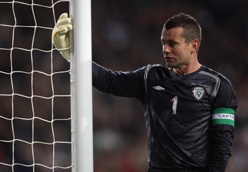 DUBLIN, IRELAND - OCTOBER 14:  Republic of Ireland Captain Shay Given looks on during the FIFA 2010 World Cup European Qualifying match between the Republic of Ireland and Montenegro at Croke Park on October 14, 2009 in Dublin, Ireland.  (Photo by Bryn Le