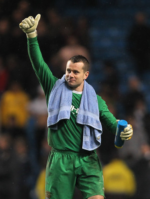 MANCHESTER, ENGLAND - DECEMBER 05:  Shay Given of Manchester City gives a thumbs up at the end of the Barclays Premier League match between Manchester City and Chelsea at the City of Manchester Stadium on December 5, 2009 in Manchester, England.  (Photo b