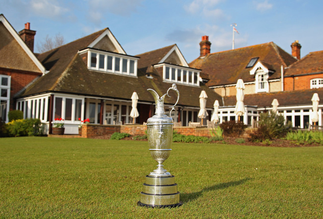 SANDWICH, ENGLAND - APRIL 19:  A general view of the claret jug in front of the clubhouse prior to The Royal St George's Open Championship press conference on April 19, 2011 in Sandwich, England.  (Photo by Andrew Redington/Getty Images)
