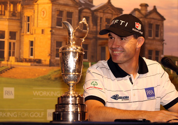 DUBLIN, IRELAND - JANUARY 14:  Two time Open Championship winner Padraig Harrington of Ireland talks to the media as he is announced as the first Working for Golf Ambassador during a R&A Working for Golf Press Conference at Dun Laoghaire Golf Club on Janu