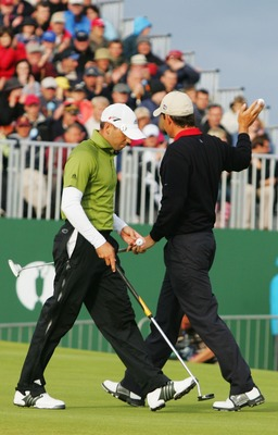 CARNOUSTIE, UNITED KINGDOM - JULY 22:  Padraig Harrington of Ireland walks on the second playoff hole alongside Sergio Garcia of Spain during The 136th Open Championship at the Carnoustie Golf Club on July 22, 2007 in Carnoustie, Scotland.  (Photo by Andy
