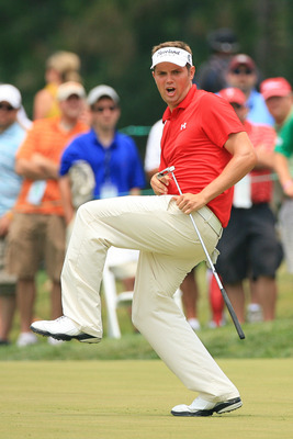 NEWTOWN SQUARE, PA - JULY 3: Jeff Overton reacts after missing his birdie putt on the seventh hole during the final round of the AT&T National at Aronimink Golf Club on July 3, 2011 in Newtown Square, Pennsylvania. (Photo by Hunter Martin/Getty Images)